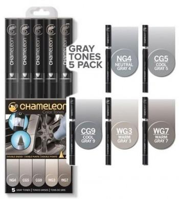 Set 5 rotuladores Chameleon - Gray Tones