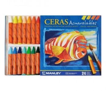 CAJA 24 CERAS ACUARELABLES MANLEY